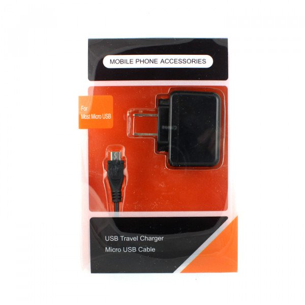 Wholesale 2 in 1 Power Micro USB V8/V9 House Charger (Orange PK)