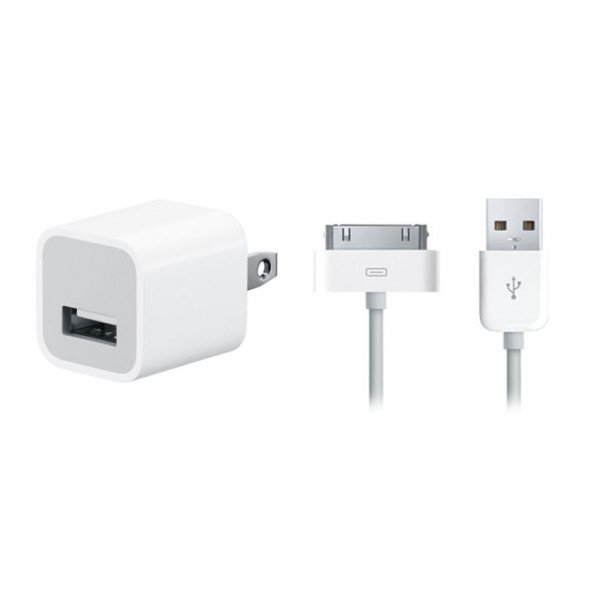 Wholesale iPhone 4S 4 2-in-1 House Power Charger (White)
