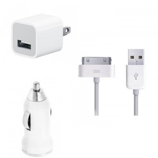 Wholesale iPhone 4S 4 3-in-1 House & Car Charger (White)