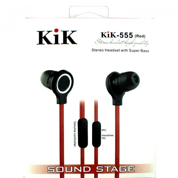 Wholesale KIK 555 Stereo Earphone Headset with Mic and Volume Control (555 Red)