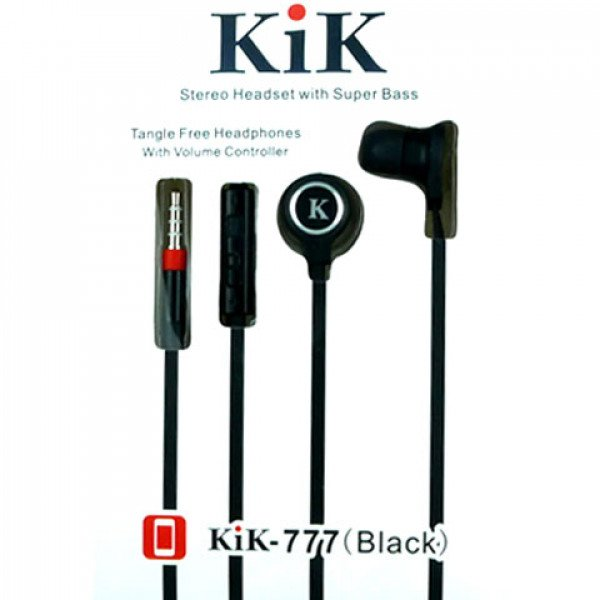 Wholesale KIK 777 Stereo Earphone Headset with Mic and Volume Control (777 Black)