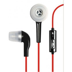 KIK 666 Stereo Earphone Headset with Mic (666 Black - Red)