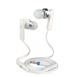 KIK 888 Stereo Earphone Headset with Mic and Volume Control (888 White)