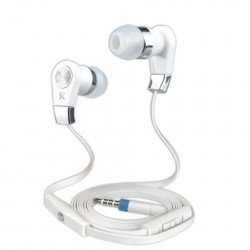 KIK 999 Stereo Earphone Headset with Mic and Volume Control (999 White)