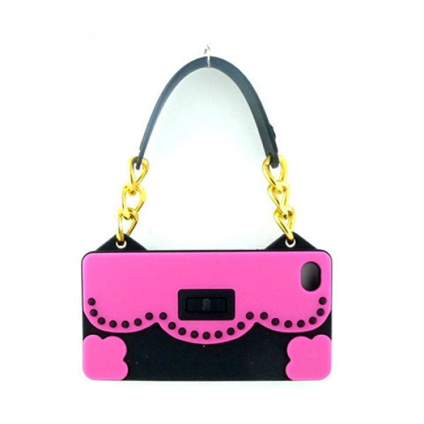 Wholesale iPhone 4S 4 Flower Handbag (Hot Pink - Black)
