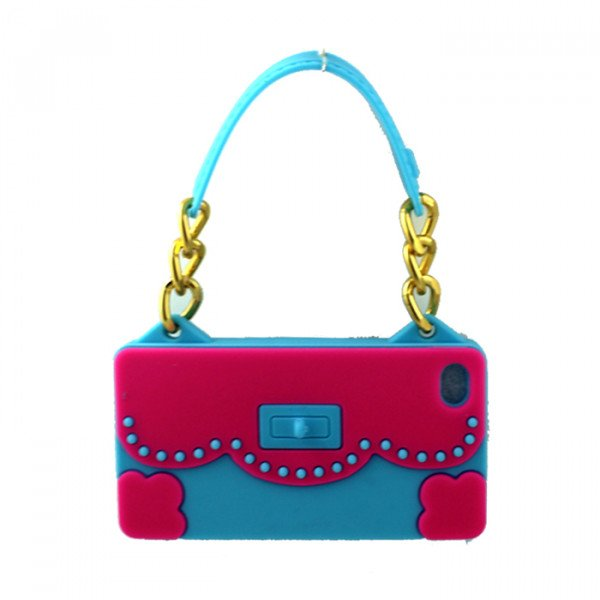 Wholesale iPhone 4S 4 Flower Handbag (Hot Pink - Blue)