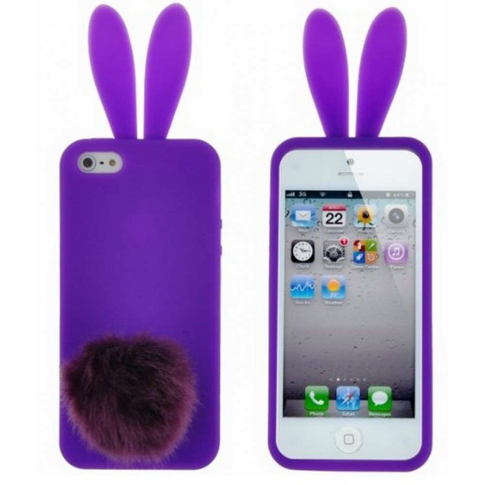 los angeles 4d12e 2fdf3 Wholesale iPhone 5 5S 3D Bunny Case with Stand Up Tail (Purple)