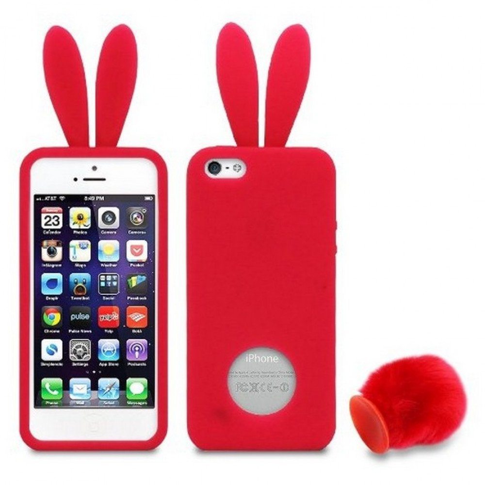 premium selection faa2c 83e63 Wholesale iPhone 5 5S 3D Bunny Case with Stand Up Tail (Red)