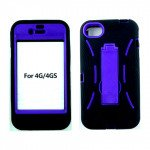 Wholesale Armor Hybrid Case with Stand for iPhone 4S / 4 (Black-Purple)