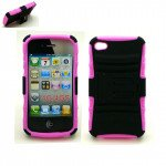 Wholesale iPhone 4S 4 TPU+PC Dual Hybrid  Case with Stand (Black-Pink)