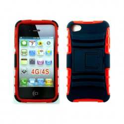 iPhone 4 4S TPU+PC Dual Hybrid  Case with Stand (Black-Red)