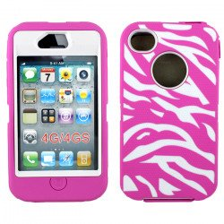 iPhone 4S 4 Zebra Defender Case with Built-In Screen (Hot Pink - White)