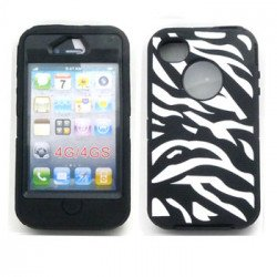 iPhone 4S 4 Zebra Defender Case with Built-In Screen (Black - White)