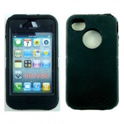 iPhone 4S 4 TPE Armor Defender Case with Built In Screen (Black Black)