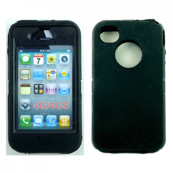Wholesale iPhone 4S 4 TPE Armor Defender Case with Built In Screen (Black Black)
