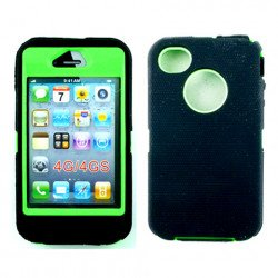 iPhone 4S 4 TPE Armor Defender Case with Built In Screen (Black Green)