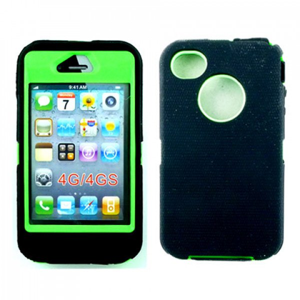Wholesale iPhone 4S 4 TPE Armor Defender Case with Built In Screen (Black Green)