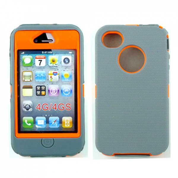 Wholesale iPhone 4S 4 TPE Armor Defender Case with Built In Screen (Gray Orange)