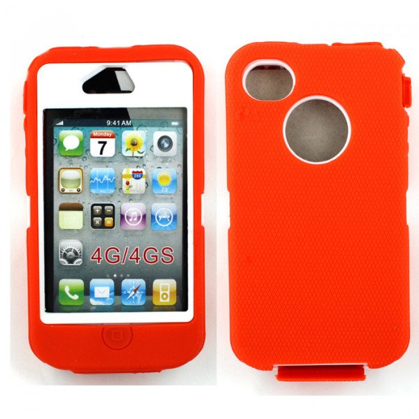 Wholesale iPhone 4S 4 Armor Defender Case with Built In Screen (Orange White)