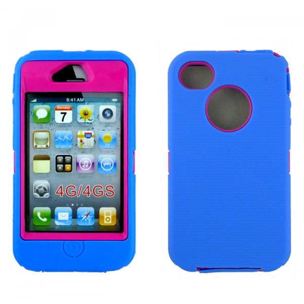 Wholesale iPhone 4S 4 Armor Defender Case with Built In Screen (Blue Hot Pink)