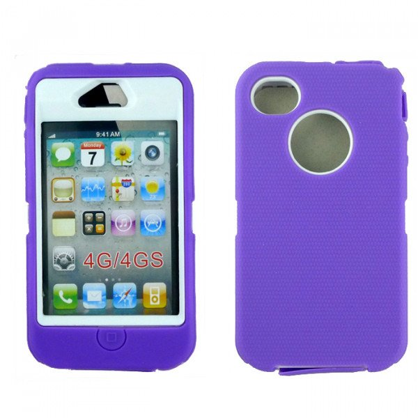 Wholesale iPhone 4S 4 TPE Armor Defender Case with Built In Screen (Purple White)