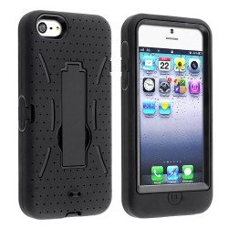 iPhone 5 5S Armor Hybrid Case with Stand (Black-Black)