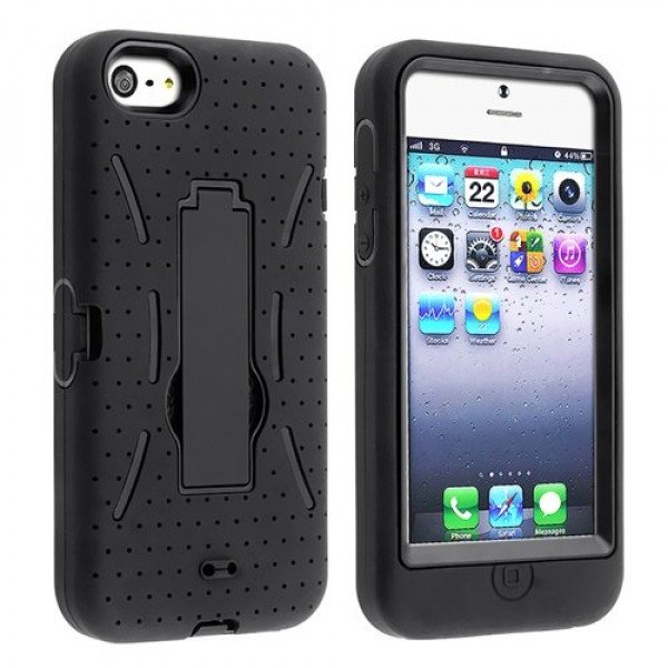 Wholesale iPhone 5 5S Armor Hybrid Case with Stand (Black-Black)