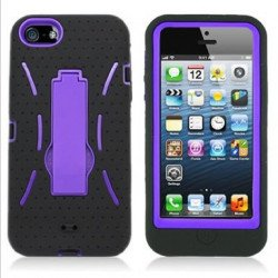 iPhone 5 5S Armor Hybrid Case with Stand (Black-Purple)