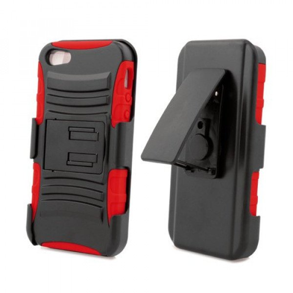 Wholesale iPhone 5 Dual Hybrid Case with Stand and Holster Clip (Black-Red)