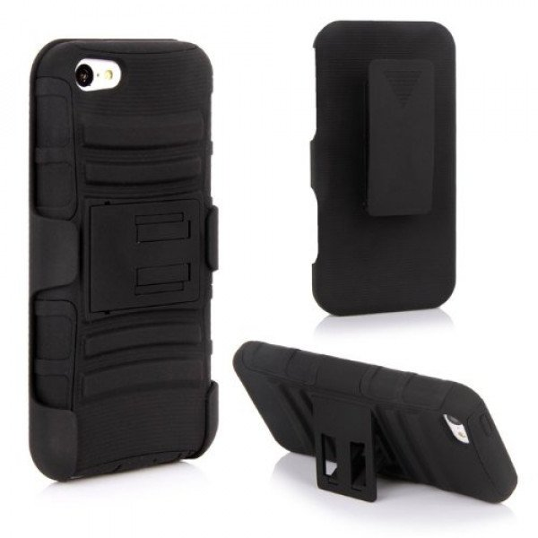 Wholesale iPhone 5 Silicon+PC Dual Hybrid Case with Stand and Holster Clip (Black-Black)