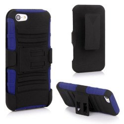 iPhone 5 Silicon+PC Dual Hybrid Case with Stand and Holster Clip (Black-Blue)