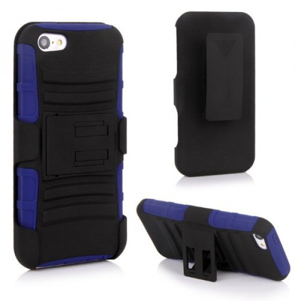 Wholesale iPhone 5 Silicon+PC Dual Hybrid Case with Stand and Holster Clip (Black-Blue)