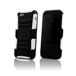 iPhone 5 Silicon+PC Dual Hybrid Case with Stand and Holster Clip (Black-White)