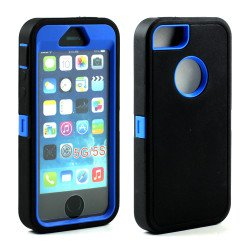 iPhone 5S 5 Armor Defender Case with Screen and Finger Scan (Black Blue)