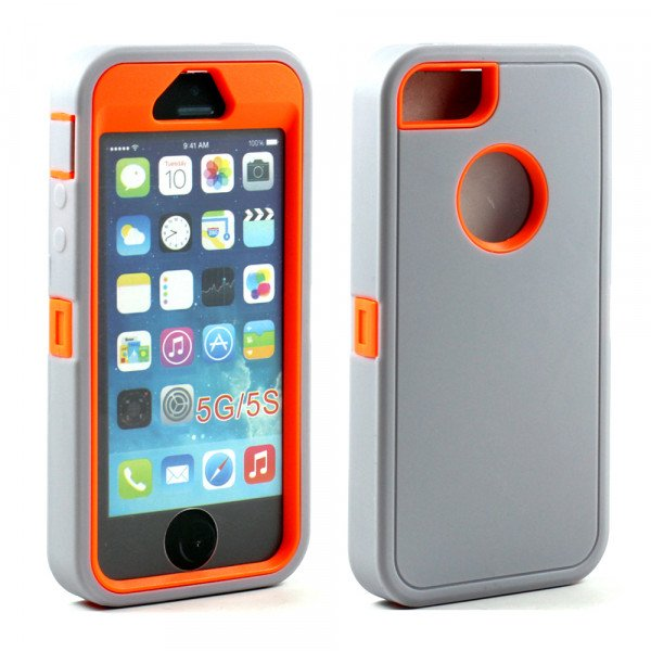 wholesale iphone 5s 5 armor defender case with screen and finger scan gray orange. Black Bedroom Furniture Sets. Home Design Ideas