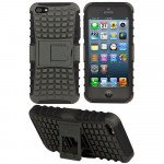 Wholesale iPhone 5 5S TPU+PC Dual  Hybrid Case with Stand (Black-Black)
