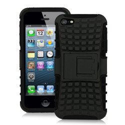 iPhone 5 5S TPU+PC Dual  Hybrid Case with Stand (Black-Black)