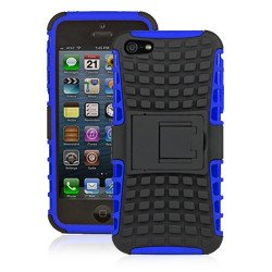 iPhone 5 5S TPU+PC Dual  Hybrid Case with Stand (Black-Blue)