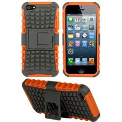 iPhone 5 5S TPU+PC Dual  Hybrid Case with Stand (Black-Orange)
