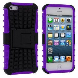 iPhone 5 5S TPU+PC Dual  Hybrid Case with Stand (Black-Purple)