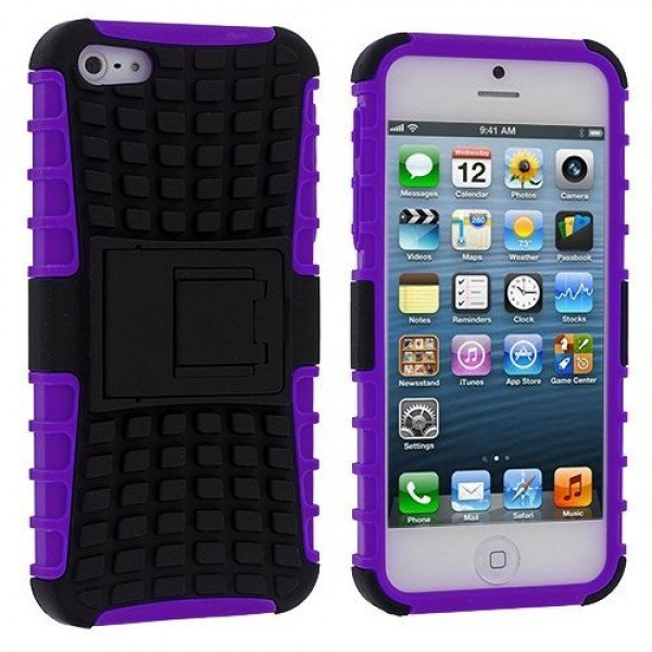 Wholesale iPhone 5 5S TPU+PC Dual  Hybrid Case with Stand (Black-Purple)