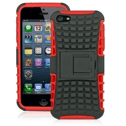 iPhone 5 5S TPU+PC Dual  Hybrid Case with Stand (Black-Red)