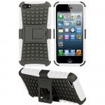 Wholesale iPhone 5 5S TPU+PC Dual  Hybrid Case with Stand (Black-White)