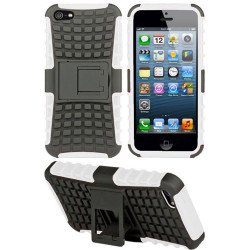 iPhone 5 5S TPU+PC Dual  Hybrid Case with Stand (Black-White)