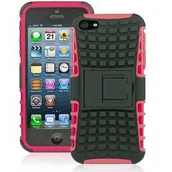 iPhone 5 5S TPU+PC Dual  Hybrid Case with Stand (Black-Pink)