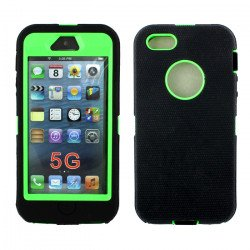 iPhone 5S 5 Armor Defender Case with Built In Screen (Black-Green)