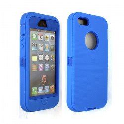 iPhone 5S 5 Armor Defender Case with Built In Screen (Blue-Blue)