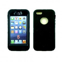 iPhone 5S 5 Armor Defender Case with Built In Screen (Black-Black)