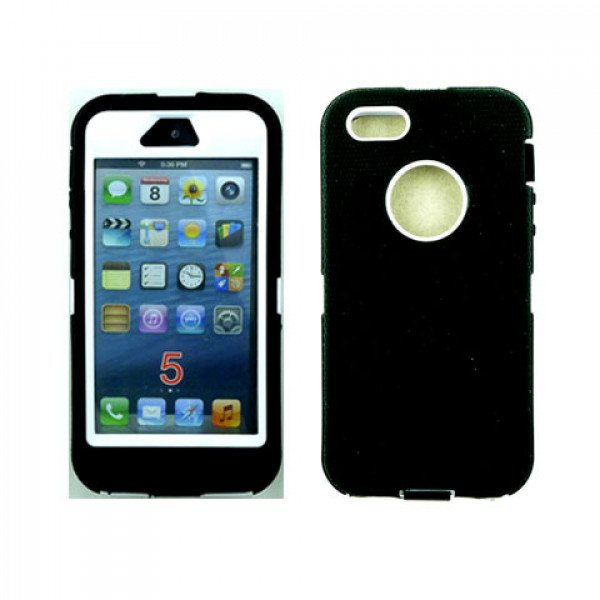 Wholesale iPhone 5S 5 Armor Defender Case with Built In Screen (Black-White)