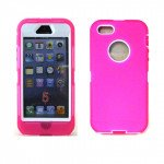 Wholesale iPhone 5S 5 Armor Defender Case with Built In Screen(Pink-White)